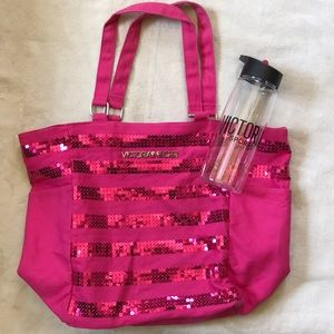 Victoria's Secret tote and water bottle